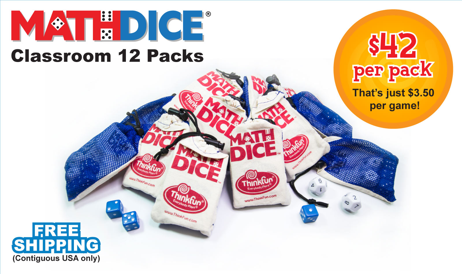 Math Dice 12 Classroom 12 Packs